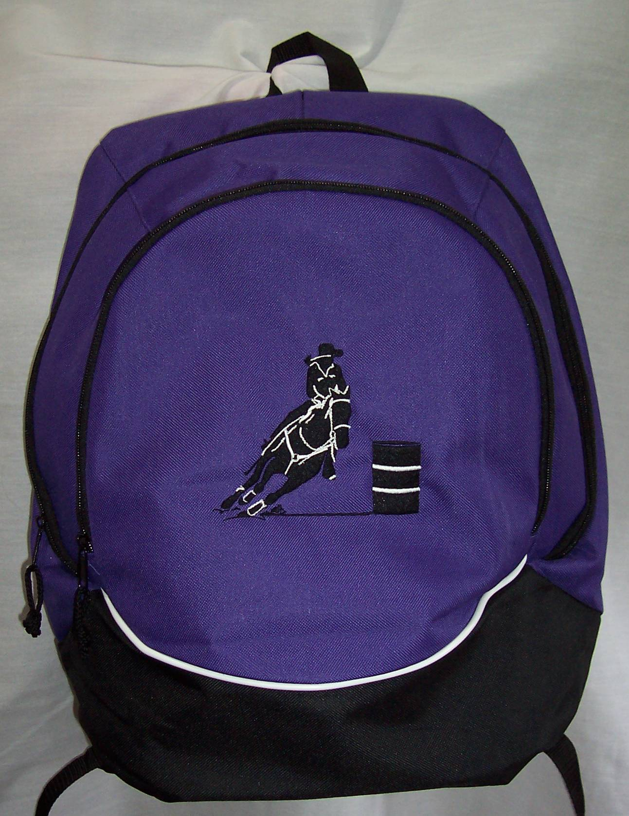 BARREL RACER racing Backpack Book Bag purple horse NEW